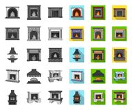 Different kinds of fireplaces mono,flat icons in set collection for design.Fireplaces construction vector symbol stock. Illustration stock illustration