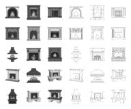 Different kinds of fireplaces mono,outline icons in set collection for design.Fireplaces construction vector symbol. Stock  illustration vector illustration