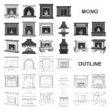 Different kinds of fireplaces monochrom icons in set collection for design.Fireplaces construction vector symbol stock. Illustration stock illustration