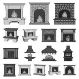 Different kinds of fireplaces monochrome icons in set collection for design.Fireplaces construction vector symbol stock. Illustration Royalty Free Stock Image
