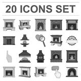Different kinds of fireplaces monochrome icons in set collection for design.Fireplaces construction vector symbol stock. Illustration Royalty Free Stock Photography