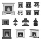 Different kinds of fireplaces monochrome icons in set collection for design.Fireplaces construction vector symbol stock. Illustration Stock Photo