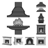 Different kinds of fireplaces monochrome icons in set collection for design.Fireplaces construction vector symbol stock. Illustration Royalty Free Stock Photos