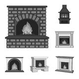Different kinds of fireplaces monochrome icons in set collection for design.Fireplaces construction vector symbol stock. Illustration Stock Images