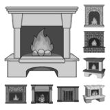 Different kinds of fireplaces monochrome icons in set collection for design.Fireplaces construction vector symbol stock. Illustration vector illustration
