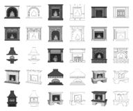 Different kinds of fireplaces monochrome,outline icons in set collection for design.Fireplaces construction vector. Symbol stock illustration royalty free illustration