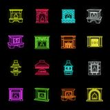 Different kinds of fireplaces neon icons in set collection for design.Fireplaces construction vector symbol stock web. Different kinds of fireplaces neon icons stock illustration