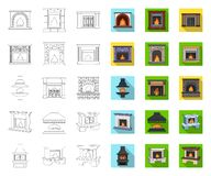 Different kinds of fireplaces outline,flat icons in set collection for design.Fireplaces construction vector symbol. Stock  illustration vector illustration
