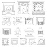 Different kinds of fireplaces outline icons in set collection for design.Fireplaces construction vector symbol stock web. Different kinds of fireplaces outline Royalty Free Stock Photography