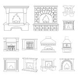 Different kinds of fireplaces outline icons in set collection for design.Fireplaces construction vector symbol stock web. Different kinds of fireplaces outline Stock Images