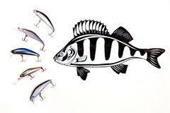 Different kinds of the fishing plastic baits with ink drawing fi Royalty Free Stock Photo