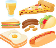 Different kinds of food and drink Royalty Free Stock Images