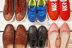 Different kinds of footwear. Ready to go walking stock photo