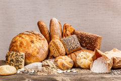 Different kinds of fresh bread Royalty Free Stock Images