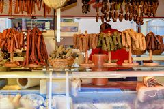 Different kinds of fresh sausages from meat at market in Salzburg Austria royalty free stock photo