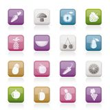 Different kinds of fruits and Vegetable icons Royalty Free Stock Photography