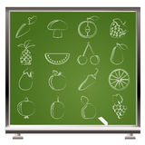 Different kinds of fruits and Vegetable icons Stock Photos