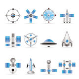 Different kinds of future spacecraft icons stock illustration
