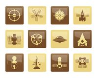 Different kinds of future spacecraft icons over brown background Stock Images
