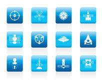 Different kinds of future spacecraft icons. Vector icon set Stock Image