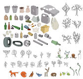 Different kinds of garbage in forests and wildlife Royalty Free Stock Photography