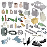 Different kinds of garbage isolated Royalty Free Stock Images