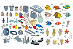 Different kinds of garbage in oceans, sea. Stock Images