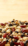 Different kinds of Grains. Five grains put on wooden background Royalty Free Stock Photo
