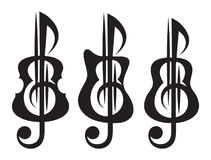 Different kinds of guitar, violin, treble clef. Vektor set of patterns for logo design.  Royalty Free Stock Photos