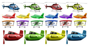 Different kinds of helicopter and planes Stock Image