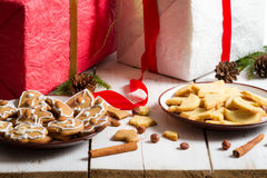 Different kinds of homemade gingerbread cookies Stock Photos
