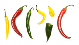 Different kinds of hot pepper, top view Royalty Free Stock Photo