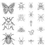 Different kinds of insects outline icons in set collection for design. Insect arthropod vector symbol stock web Stock Image