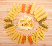 Different kinds of italian pasta Stock Image