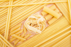 Different kinds of italian pasta Stock Photography
