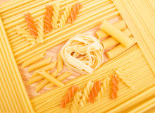 Different kinds of italian pasta Stock Photos