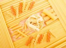 Different kinds of italian pasta Stock Photos