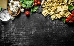 Different kinds of Italian raw pasta with tomatoes and spinach. On dark rustic background stock image