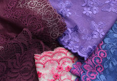 Different kinds of lace materials and textures Royalty Free Stock Photography