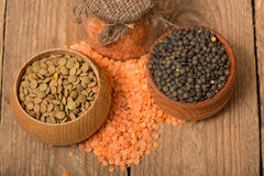 Different kinds of lentil Royalty Free Stock Photography