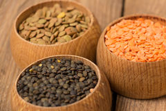 Different kinds of lentil Stock Photography