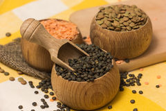 Different kinds of lentils Royalty Free Stock Images
