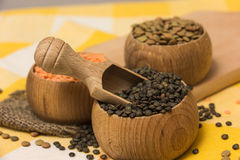 Different kinds of lentils Stock Photo