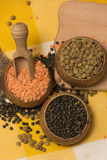 Different kinds of lentils Royalty Free Stock Photos