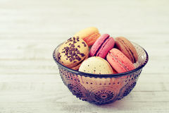 Different kinds of macaroons Stock Images