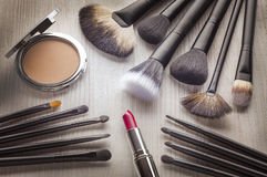 Different Kinds of Make-up brushes Royalty Free Stock Photos