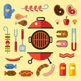 Different kinds of meat and fish steaks, sausages. BBQ party. Set for a picnic. Different kinds of meat and fish steaks, sausages. Summer vacation. Vector flat Royalty Free Stock Photography