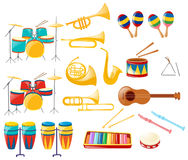 Different kinds of musical instruments Stock Images