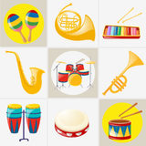 Different kinds of musical instruments Royalty Free Stock Image