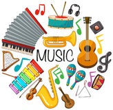 Different kinds of musical instruments. Illustration Stock Images